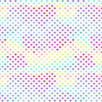 Andover Fabric - Hearts - White Rainbow - 100% Cotton - 1/4m+