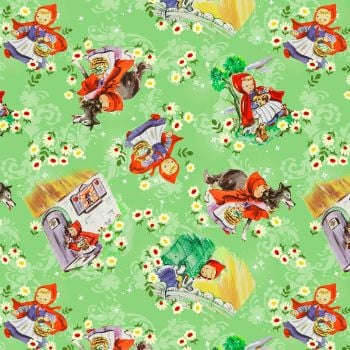 Little Red Riding Hood Fabric - Vintage Storybook - Into the Woods - 100% Cotton -1/4m+