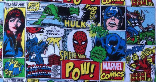 Marvel Flannel Fabric - Comic Action Around - 100% Cotton - 1/4m+