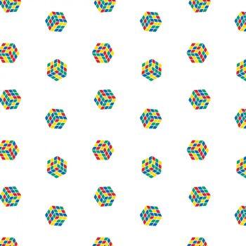 Rubik's Fabric - Tiny Rubik's Cube - White - 100% Cotton - 1/4m+