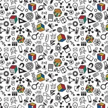 Rubik's Cube Fabric - I'm a Genius - White - 100% Cotton - 1/4m+