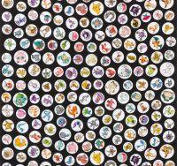 Pokemon Fabric - Pokemon Characters in Circles - Black - 100% Cotton - 1/2m+