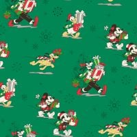 Disney Fabric - Mickey Mouse Christmas - Friends Christmas Day - Green - 100% Cotton - 1/4m+