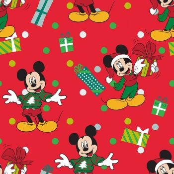 Disney Fabric - Mickey Mouse Christmas - Mickey for Me - Red - 100% Cotton - 1/4m+