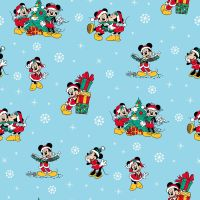 Disney Fabric - Mickey Mouse and Minnie Christmas Day - Blue - 100% Cotton - 1/4m+