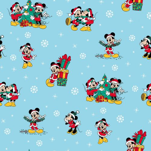 Disney Fabric - Mickey Mouse and Minnie Christmas Day - Blue - 100% Cotton