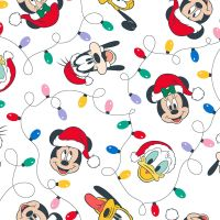 Disney Fabric - Mickey Mouse and Friends Christmas Lights - White - 100% Cotton - 1/4m+