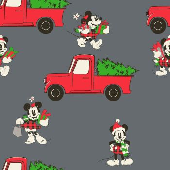 Disney Fabric - Mickey Mouse Christmas - Red Truck - 100% Cotton - 1/4m+