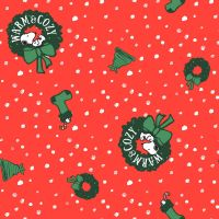 Peanuts Fabric - Snoopy Christmas Toss - Red - 100% Cotton - 1/4m+