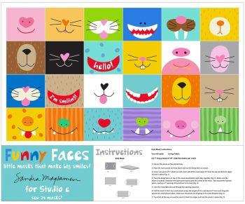 """Studio E Fabric - 36"""" Small Mask Panel - Funny Faces - 100% Cotton"""