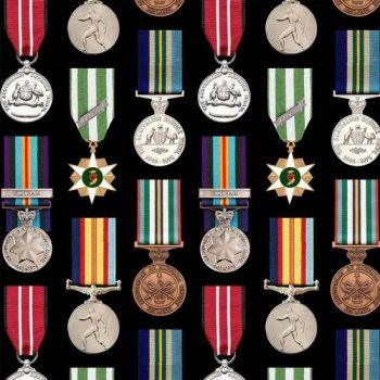 Nutex Fabric - Battlezone - Medals - 100% Cotton - 1/4m+