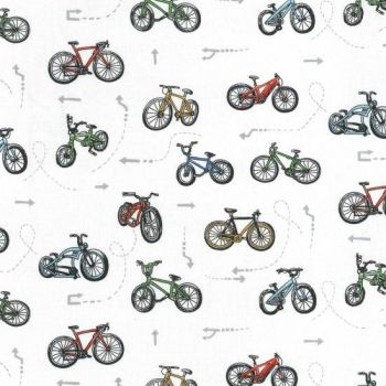 Nutex Fabric - On Two Wheels - Bike Scatter - White - 100% Cotton - 1/4m+