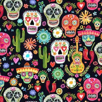 Dear Stella Fabric - Viva Mexico - Day of the Dead Skulls - 100% Cotton - 1/4m+