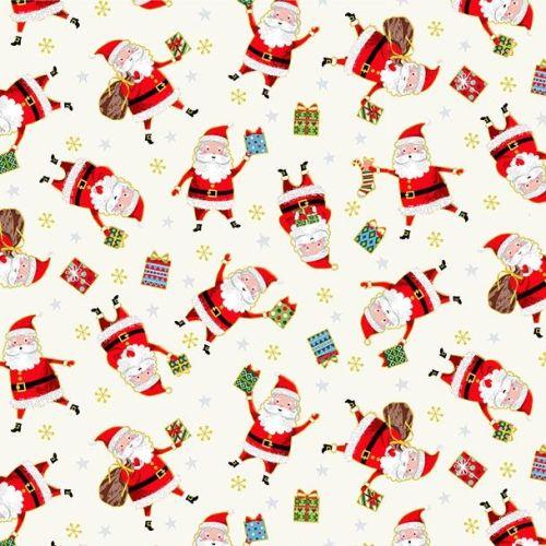 Makower Fabric - Santa Express - Santas - Cream - 100% Cotton - 1/4m+