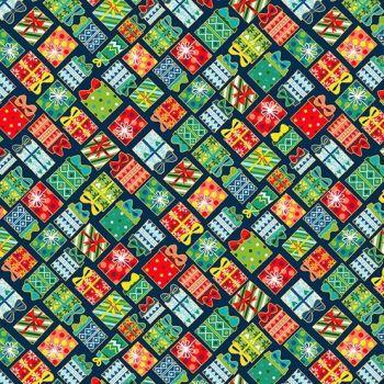Makower Fabric - Santa Express - Presents - Blue - 100% Cotton - 1/4m+
