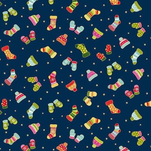 Makower Fabric - Santa Express - Mittens - Blue - 100% Cotton - 1/4m+