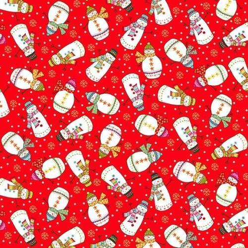 Makower Fabric - Santa Express - Snowmen - Red - 100% Cotton - 1/4m+
