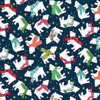 Makower Fabric - Santa Express - Polar Bears - Blue - 100% Cotton - 1/4m+