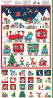 Makower Fabric - Santa Express - Advent Calendar Panel - 100% Cotton - 60cm panel