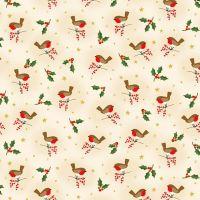 Makower Fabric - Classic Foliage - Robins - Cream - 100% Cotton - 1/4m+