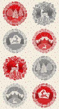 Makower Fabric - Scandi - Circle/Wreath Panel - 100% Cotton - 60cm panel