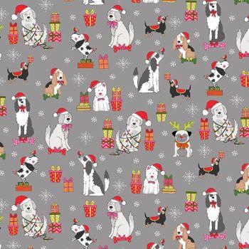 Makower Fabric - Yappy Christmas - Dog Scatter - Grey - 100% Cotton - 1/4m+