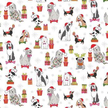 Makower Fabric - Yappy Christmas - Dog Scatter - Cream - 100% Cotton - 1/4m+