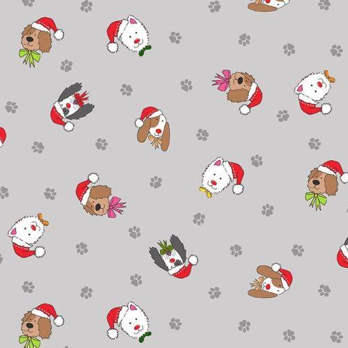 Makower Fabric - Yappy Christmas - Dog Heads - Grey - 100% Cotton - 1/4m+