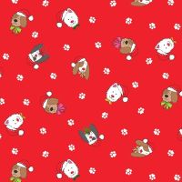 Makower Fabric - Yappy Christmas - Dog Heads - Red - 100% Cotton - 1/4m+