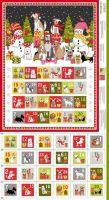 Makower Fabric - Yappy Christmas - Advent Calendar Panel - 100% Cotton