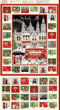 Makower Fabric - London Christmas - Advent Calendar Panel - 100% Cotton