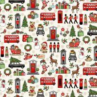 Makower Fabric - London Christmas - London Icons - Cream - 100% Cotton - 1/4m+