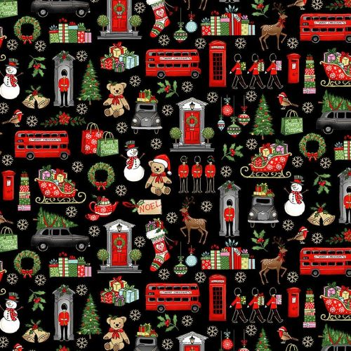 Makower Fabric - London Christmas - London Icons - Black - 100% Cotton - 1/