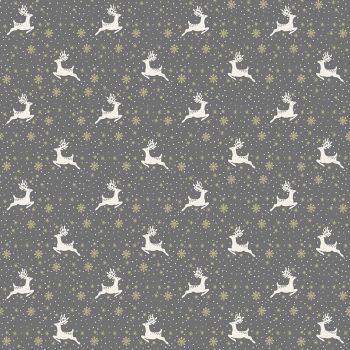 Makower Fabric - Scandi Christmas - Reindeer - Grey - 100% Cotton - 1/4m+