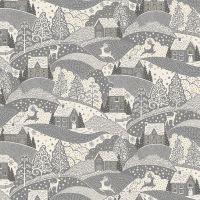 Makower Fabric - Scandi Christmas - Scenic - Grey - 100% Cotton - 1/4m+