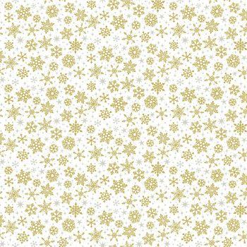 Makower Fabric - Christmas Metallic Essentials - Snowflakes - Gold - 100% Cotton - 1/4m+