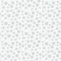 Makower Fabric - Christmas Metallic Essentials - Snowflakes - Silver - 100% Cotton - 1/4m+