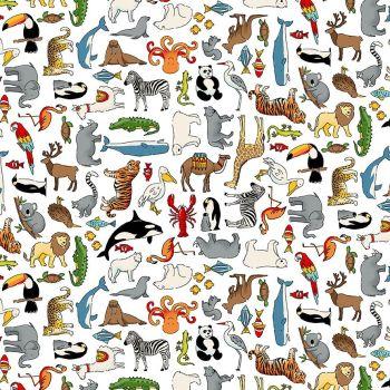 Makower Fabric - Around the World - Animals - White - 100% Cotton - 1/4m+