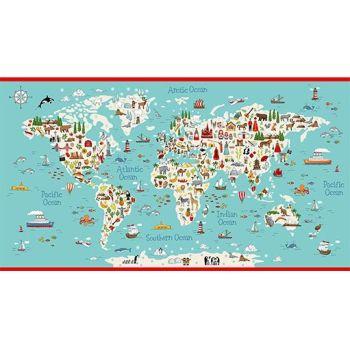 Makower Fabric - Around the World - Map Panel - 100% Cotton - 60cm panel