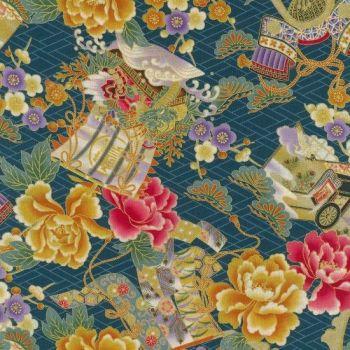 Japanese Fabric - Kenzan - Floral - Teal - 100% Cotton - 1/4m+