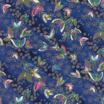 Japanese Fabric - Furai - Butterflies - Blue - 100% Cotton - 1/4m+