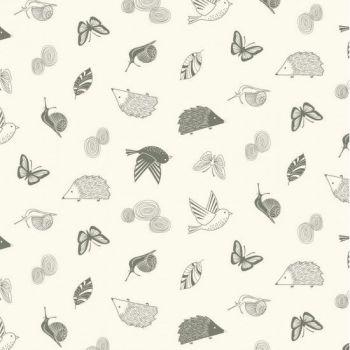 Nutex Fabric - Enchanted Garden - Cream Scatter - 100% Cotton - 1/4m+