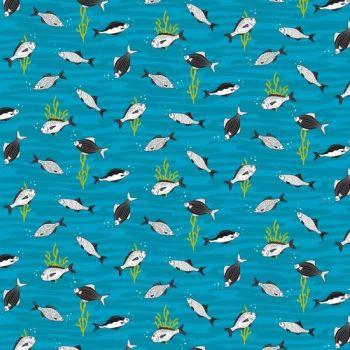 Nutex Fabric - Ocean Life - Fish - Blue - 100% Cotton - 1/4m+
