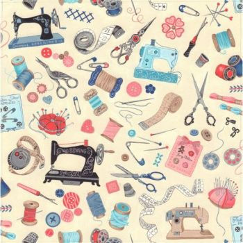 Nutex Fabric - Sew Vintage - Scatter - Cream - 100% Cotton - 1/4m+