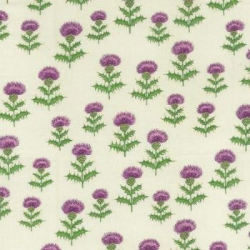 Nutex Fabric - Thistles - Cream - 100% Cotton - 1/4m+