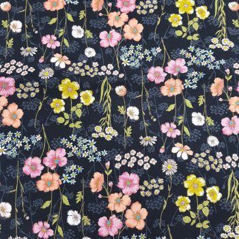 Japanese Fabric - Ogura - Botanical Feel - Black - 100% Cotton - 1/4m+