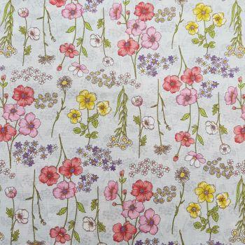 Japanese Fabric - Ogura - Botanical Feel - Cream - 100% Cotton - 1/4m+
