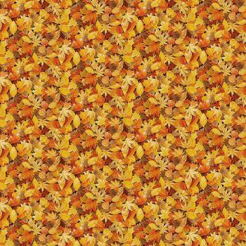 Makower Fabric - Landscapes - Leaves - Orange - 100% Cotton - 1/4m+