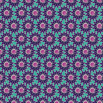Makower Fabric - Henna - Sunflower - Turq/Purple - 100% Cotton - 1/4m+