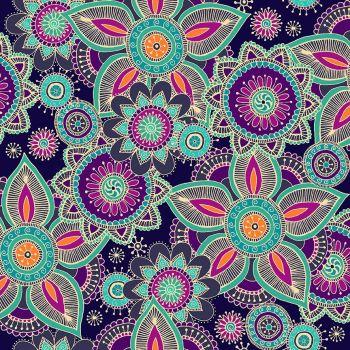 Makower Fabric - Henna - Henna - Purple - 100% Cotton - 1/4m+